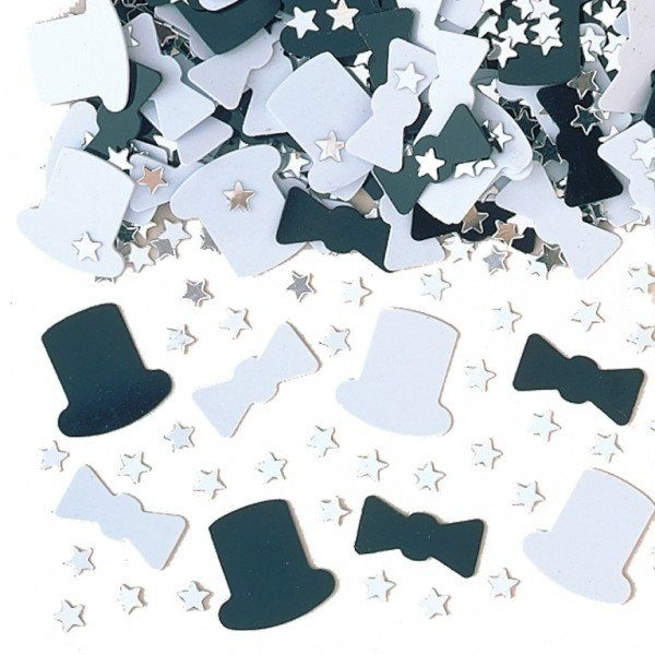 Top Hat Silver & Black Metallic Table Confetti 14g