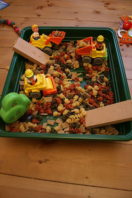 Pasta, container, blocks and toy trucks... that's an easy, fun activity!