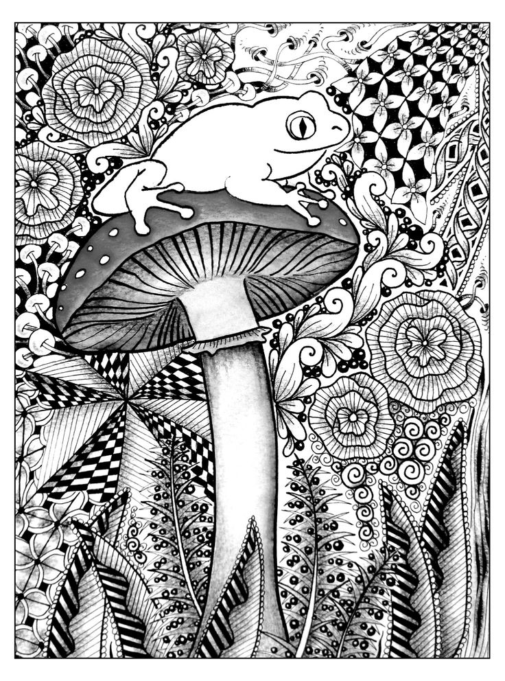 Free Coloring Page Frog Jungle A Cute On Big Mushroom For Beautiful Adult Source Tombowusa Marie Browning