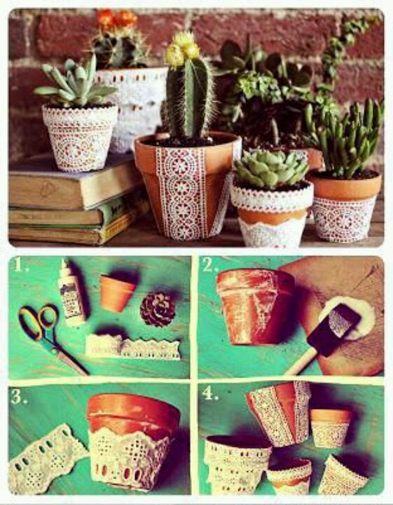 Maceta -  Lace on terracota pots.  What about using the lace as a stencil?