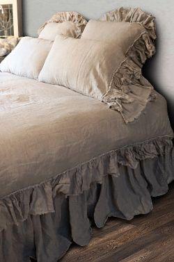 "Shabby Chic linen ruffled duvet cover with 4"" ruffle edge featuring mini ruffles, linen bedding, shabby chic bedding by CustomLinensHandmade on Etsy https://www.etsy.com/listing/286005781/shabby-chic-linen-ruffled-duvet-cover"