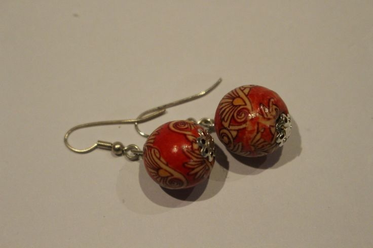 red patterned earrings by 1OfakindHomemade on Etsy