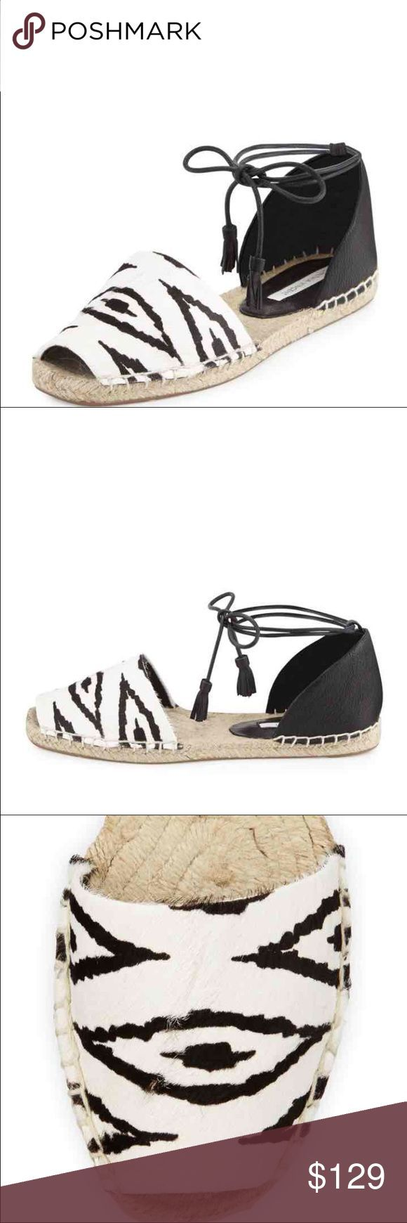 """Farie Zebraprint Anklewrap Sandal Brand new Cynthia Vincent leather and zebra-print dyed calf hair (China) sandal. 0.3"""" flat heel. Peep toe. Self-tie ankle wrap. Braided-jute midsole. Rubber outsole. Color: BLACK/WHITe size 10 NWOB Cynthia Vincent Shoes Flats & Loafers"""
