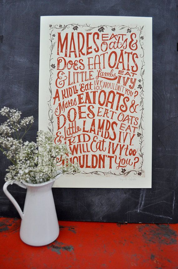 This reminds me of being a kid!   Tonya...You recognize this?? :^)  Mares Eat Oats  Silkscreened Poster by MaryKateMcDevitt on Etsy, $30.00