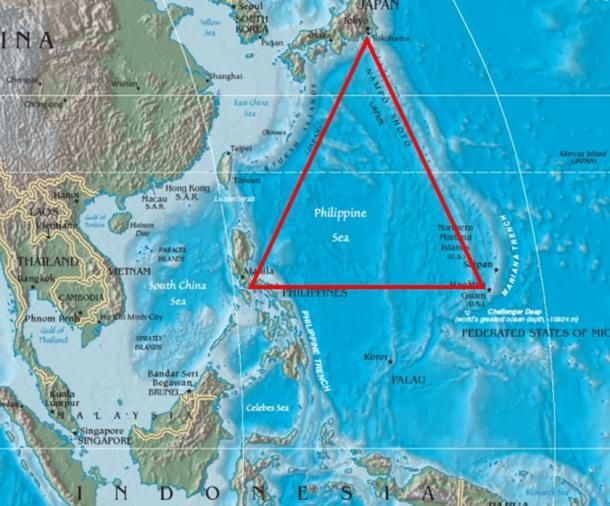 The FORMOSA TRIANGLE contains most of the northeast Philippine Sea.  The DEVIL's SEA (Ma No Umi in Japanese) is approximately located between the Japanese Coast, about 100km south of Tokyo, the east coast of the Philippines, level with Manilla, and the west coast of Guam, a U.S. island territory in Micronesia. It includes a major section of the Philippine Sea.