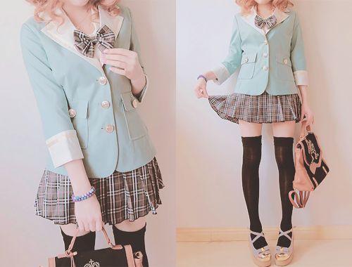 blazer + bowtie + skirt + over-the-knee socks