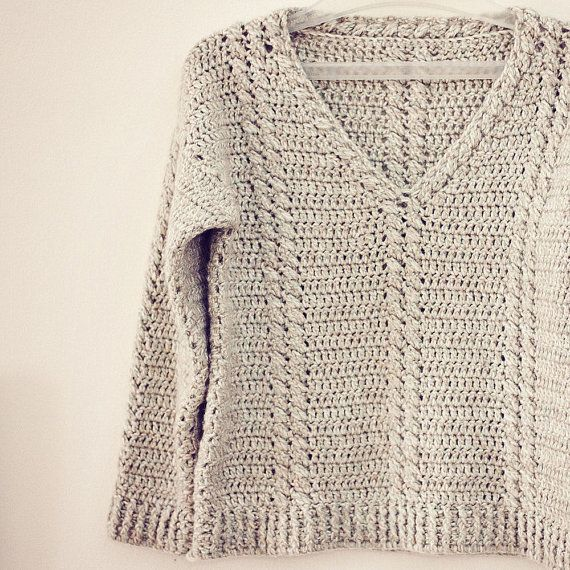 Cable V-neck sweater.  Crochet, pattern to buy on Etsy