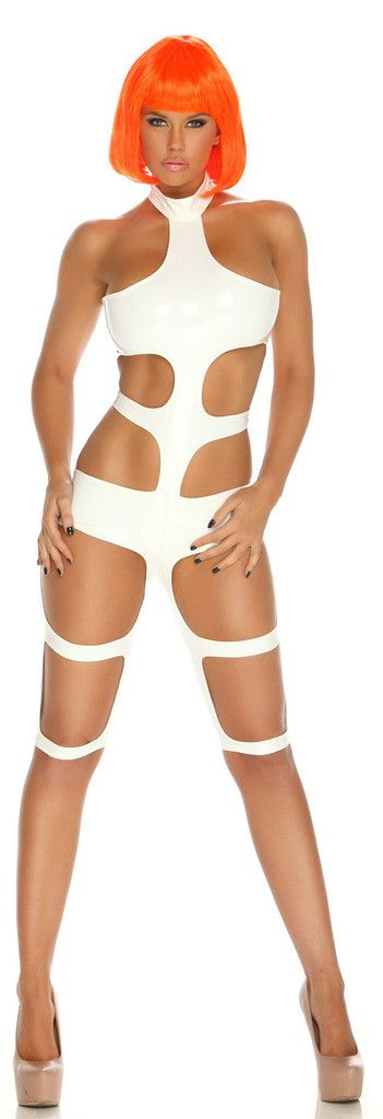 Includes: (1) white strappy stretch lycra bodysuit. Does not include wig or shoes. Weight (lbs) 0.41 Length (inches) 17.5 Width (inches) 10.5 Height(inches) 1