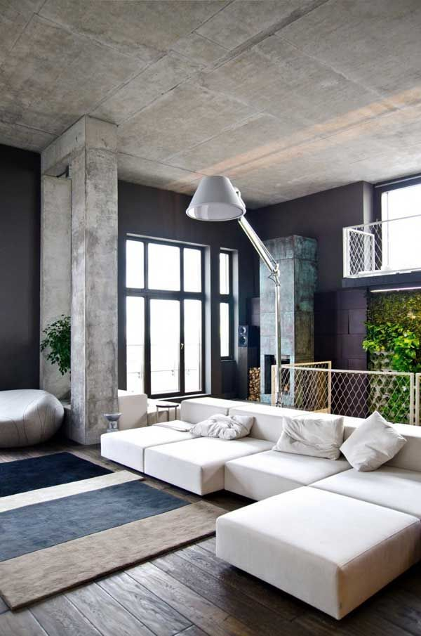 Home Loft Apartment Design By Group Minimalist Interior For Living Room With White Sectional Sofa Arch Lamp And Grey Rug