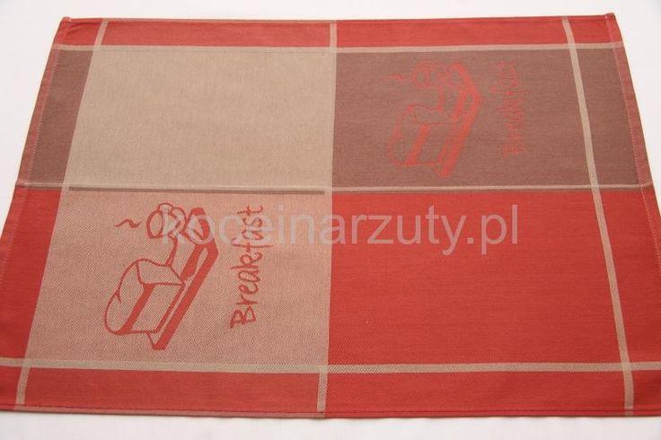 Ścierki kuchenne w kolorze czerwono brązowym z napisem breakfast