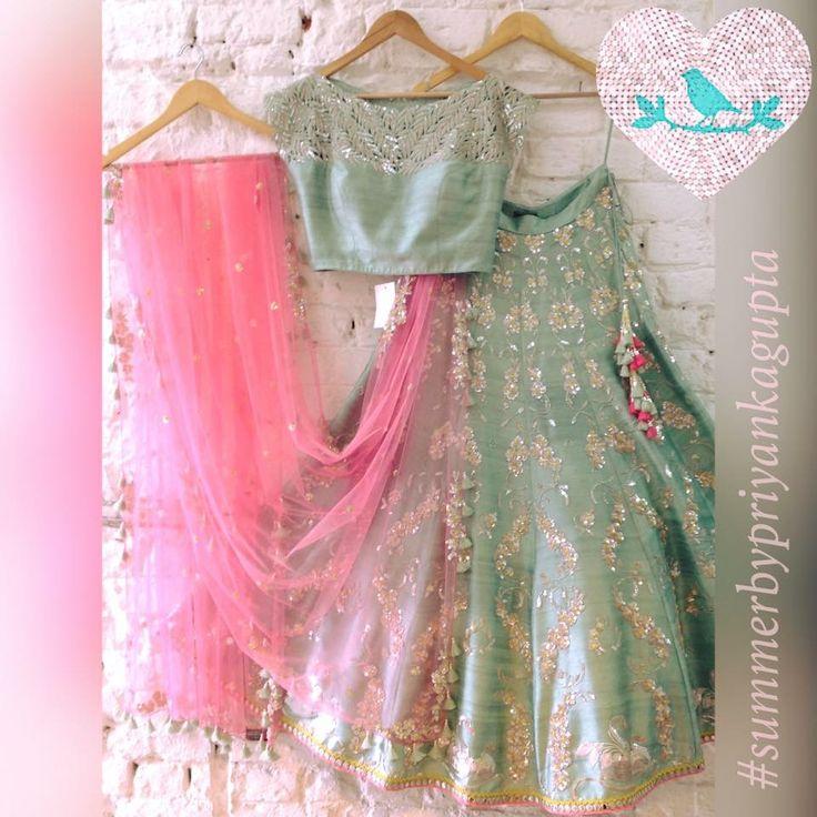 Gorgeous #Lehenga ensemble in pastels, via @topupyourtrip