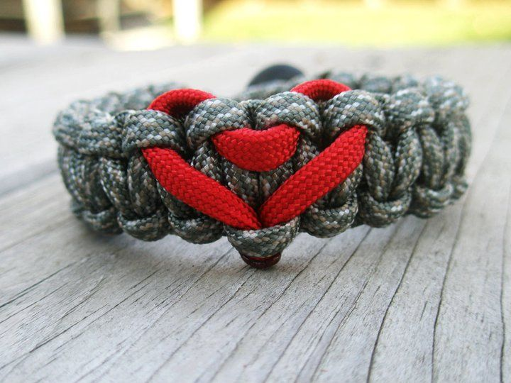 Heart Paracord Bracelet Shown in ACU with Red Heart