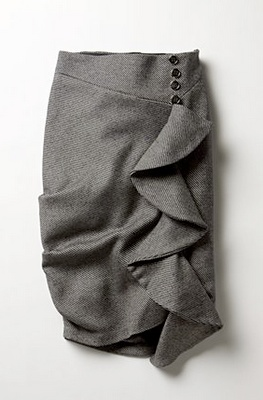 Pencil skirt with ruffles. #charcol