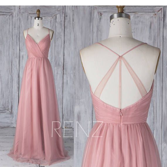 Bridesmaid Dress Dusty Pink Tulle Dress,Wedding Dress,Spaghetti Strap Prom Dress,Ruched V Neck Low Back Party Dress,A-Line Maxi Dress(HS517)
