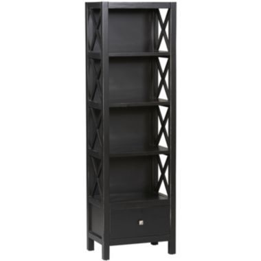 Anna Collection Tall Narrow 5-Shelf Bookcase  found at @JCPenney . Instead of a large entertainment center, I may bracket my current black antique TV Stand and Cabinet with a couple of these to create a more compact and interesting unit.