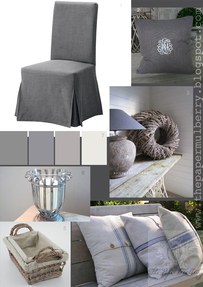 monogramed linen and grain sack cushions ikea henriksdal dining chair candle sconce and linen lined baskets u003d the paper mulberry essentially french