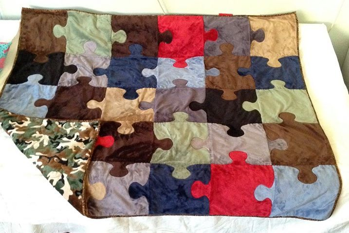 Free Puzzle Quilt Pattern: Love this version a reader made for her teen son based off my pattern. Link takes you to original pattern and instructions.