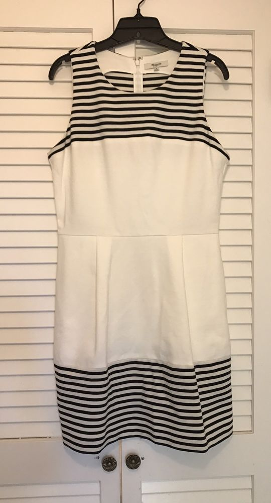 Madewell Black White Striped Sleeveless Stretch Knit Dress Pockets Size  Medium