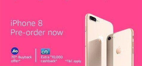 Apple iPhone 8 & iPhone 8 Plus Pre-Order Onlinestarted in India from Amazon & Flipkart with great offers, discounts. Exchange Offer, No Cost EMI, 70% buyback,Cashback on Citi, HDFC & SBI cards