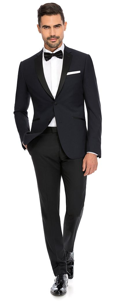 Black satin notch lapel