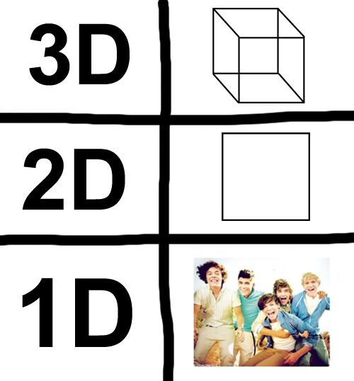 """I remember before everyone was like,""""well if 2d is length and width, then 1D is just length!"""" Before these great days of fangirling, we still talked about them. :) so lines go on forever, so 1D has gone a long way. ;) MATH JOKES!"""