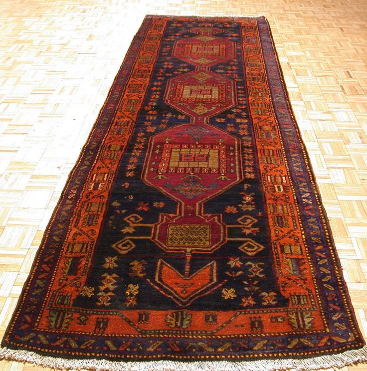 4x14 Caucasian Tribal Hand Knotted Wool Traditional Navy Reds Runner Orienta Rug