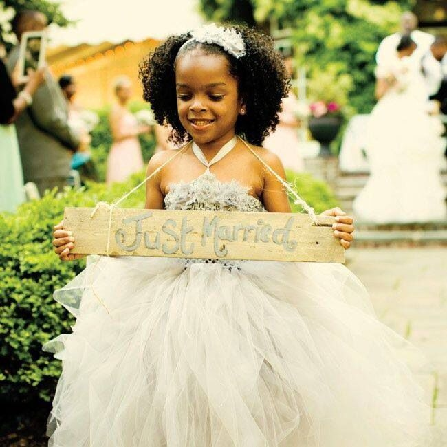 So cute.. on the back of Here comes the bride sign