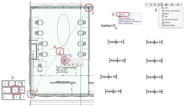 Zone Stempels kun je snel in het midden van een ruimte zetten. Selecteer de Zone Stempel en kies Move Sub-element (1). Ga kort op de hoeken van de ruimte (2) staan en wacht op de Snap Guide (of druk de letter Q (3)) en plaats het in het midden (4).  Lijn meerdere Zone Stempels uit door met Shift + select op het midden of de hoek van de Zone Stempel te staan (5). Kies Align (6).
