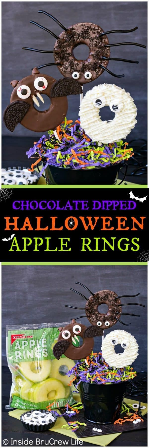 Chocolate Dipped Halloween Apple Rings - candy eyes and cookies add a fun twist to these easy chocolate covered apples. Easy no bake recipe for Halloween parties! #apples #crunchpak #halloween