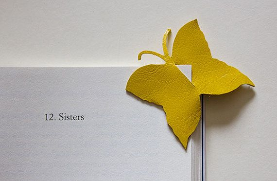 Handmade leather butterfly bookmark. $7.00