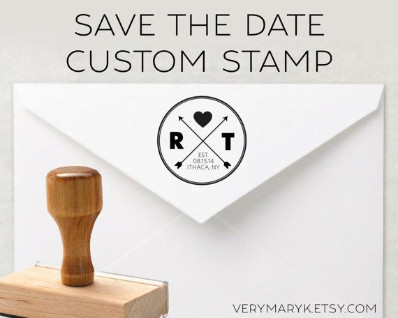 SAVE THE DATE classic wooden return address stamp wedding