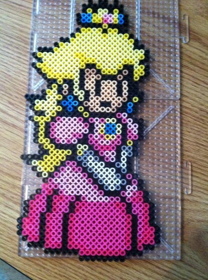 Princess Peach Perler beads by Khoriana on deviantART