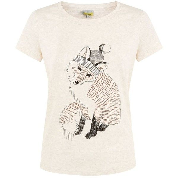 Hobbs Fox T Shirt featuring polyvore women's fashion clothing tops t-shirts beige clearance white t shirt cotton t shirts short sleeve tops white short sleeve t shirt white cotton t shirts
