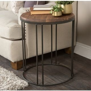 alaterre pomona metal and reclaimed wood round end table natural beige