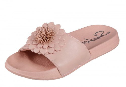 5a5ddb32e09a Skechers Cali 2nd Take Metal Petal shoes have a simple one band slip-on  slide design decorated with a pretty multi layered flower.