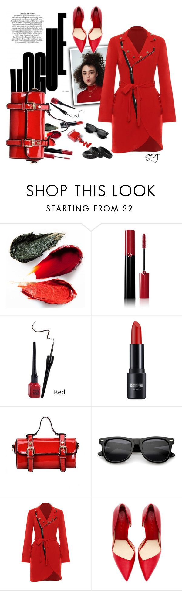 """ReD"" by s-p-j ❤ liked on Polyvore featuring Rituel de Fille, Giorgio Armani, WearAll, Zara and NOVICA"