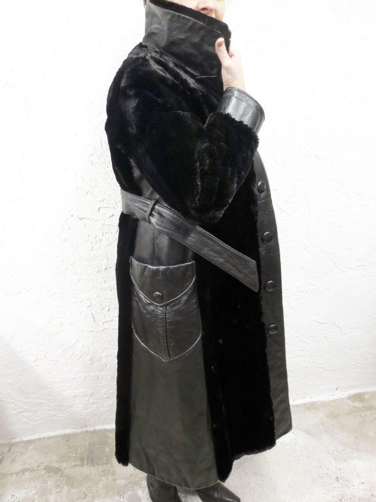 Vintage Black Mink Fur Coat with Black Leather Signed Sarrazin, Quebec, Canada