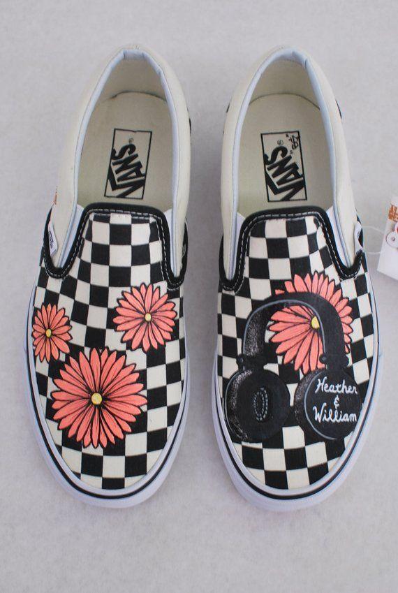 Hand Painted Checkerboard Vans Slip-ons