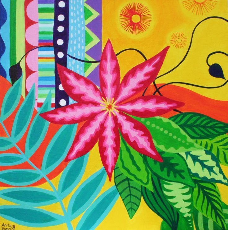 Clematis, acrilic on canvas by Anita Romeo