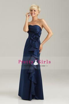 2013 Strapless Bridesmaid Dresses Column Floor-Length Satin With Ruffles USD 119.99 PGDPL4Q4GD2 - PrettyGirlsDresses.com
