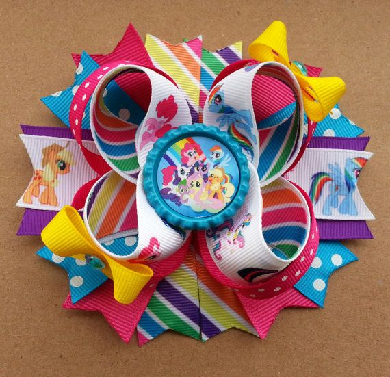 My Little Pony Inspired Boutique Stacked Hair Bow -My Little Pony Birthday Hair Bow Headband on Etsy, $11.00