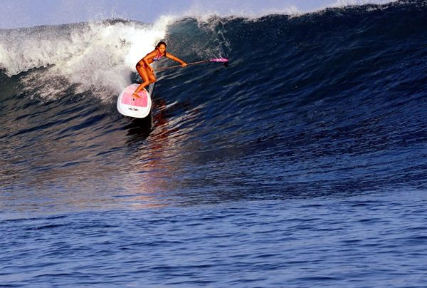 Stand Up Paddle Surfing Magazine – Paddle Surf Hawaii's Tiffany Paglinawan First Female to Charge Pipe Stand Up Paddle   Distressed Mullet