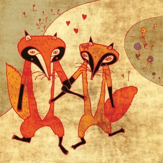foxes in love by schalle on Etsy, $25.00