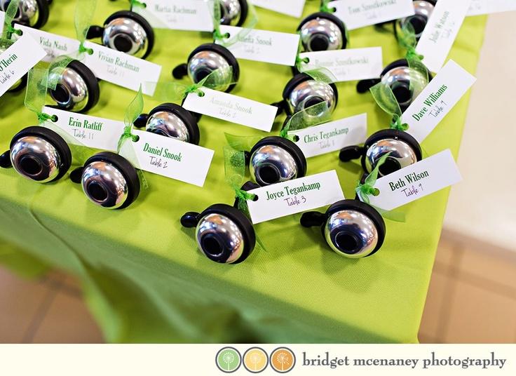 Bicycle Wedding:  Bike bells as wedding favor / escort card