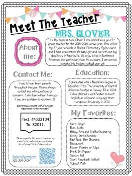 meet the student teacher letter