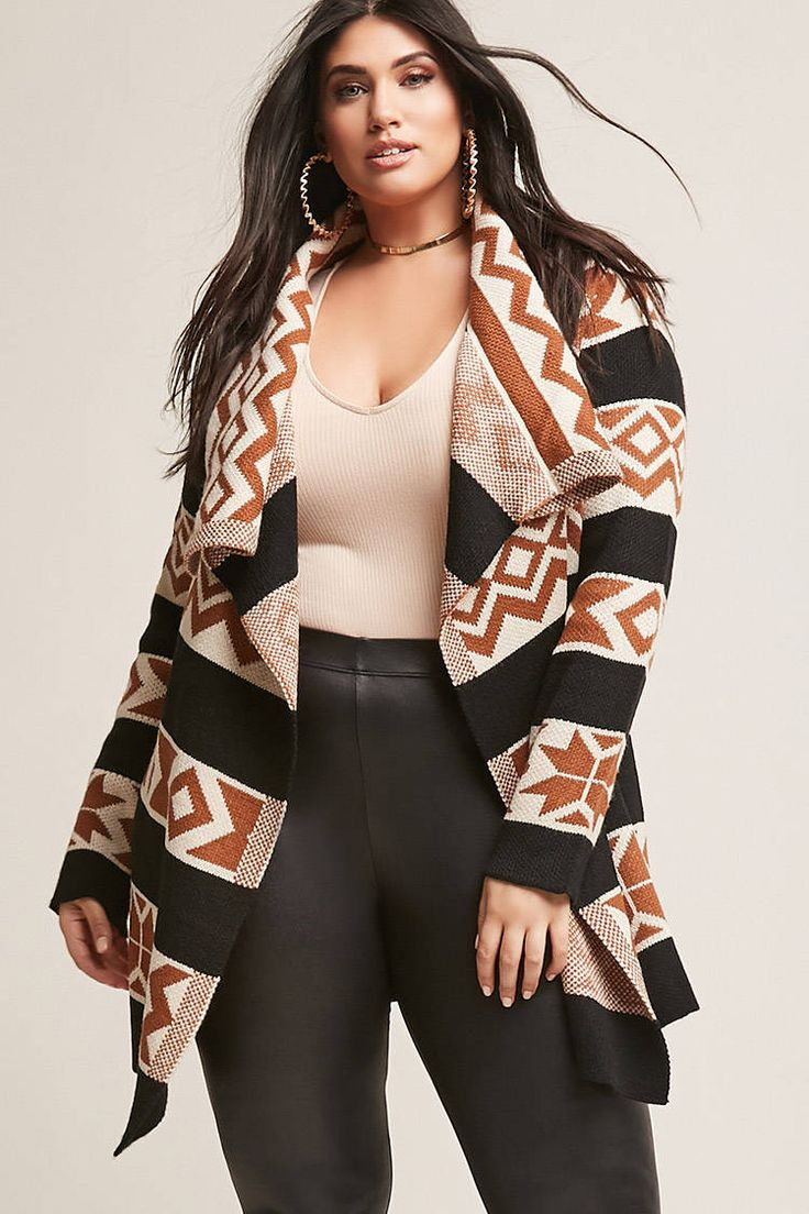 Plus Size Tribal-Inspired Cardigan #plussize