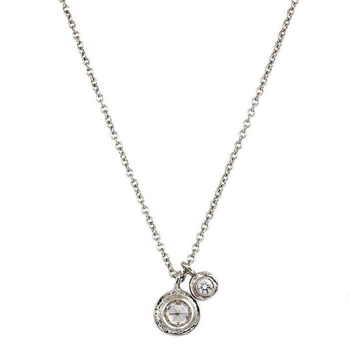 Popular Platinum Wedding Jewelry Trends: #2. Platinum Double Inner Circle Amulet; #diamondjewelry