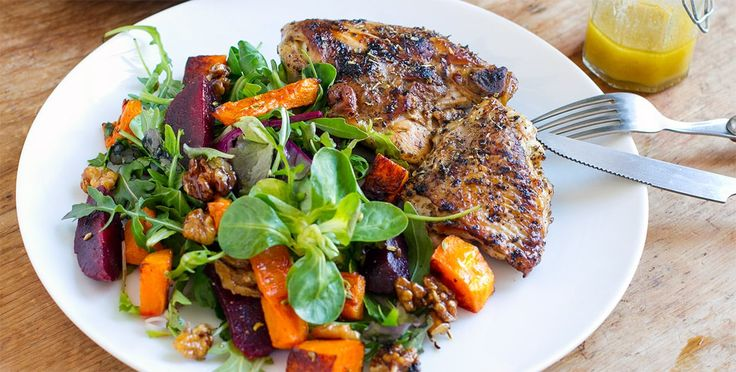 This lovely beetroot & pumpkin salad with maple walnuts and served with juicy oregano, garlic and lemon chicken. Perfect quick and easy paleo dinner meal.