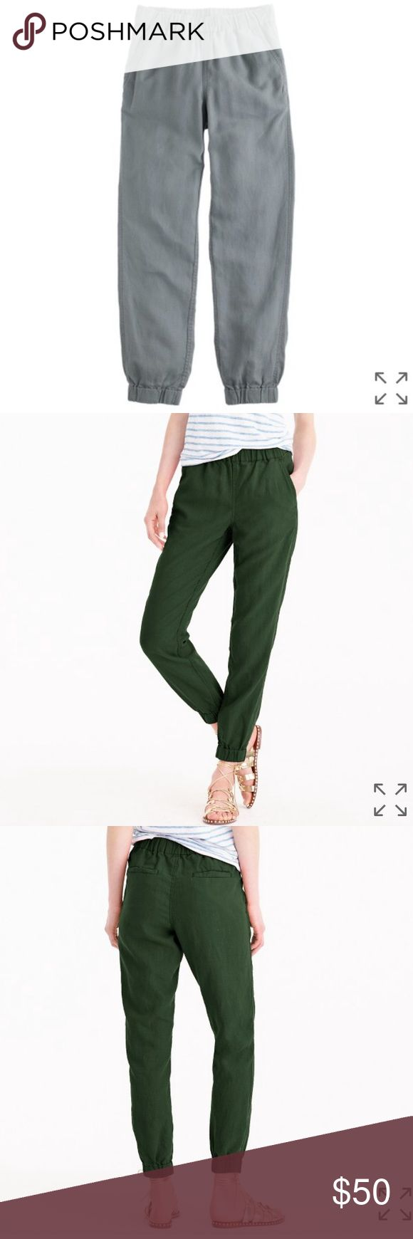 J crew seaside pants in fisherman grey Great jogger pants , linen and lycocell. Shown on model in green to show how they fit J. Crew Pants Track Pants & Joggers