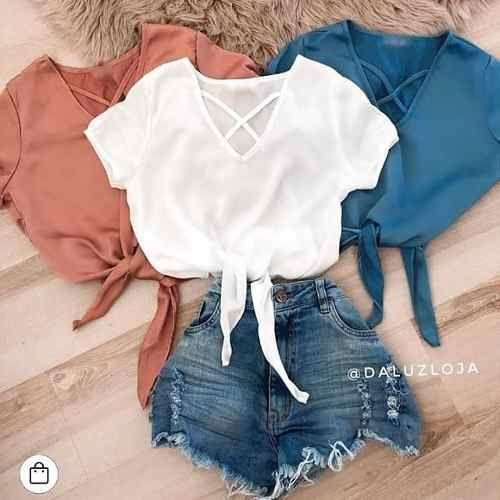 cropped blusa viscose tendencia moda feminina decote 2018